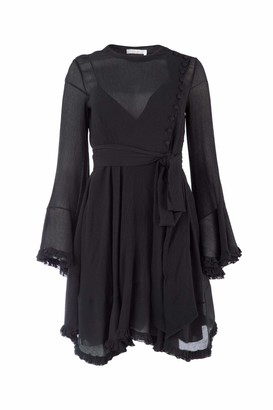 Chloé Belted Ruffle Trimmed Dress