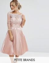Chi Chi London Petite Chi Chi Petite Lace Top Bardot Dress With Pleated Skirt
