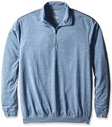 Haggar Men's Big and Tall Long Sleeve Quarter Zip Marled Effect Knit Polo