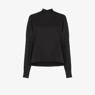 Carcel high V-neck silk blouse