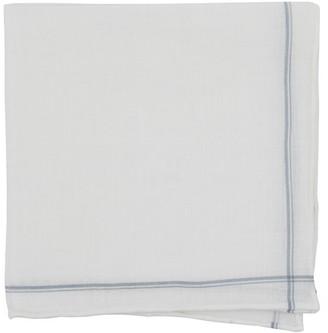 Tie Bar Binary Border Silver Pocket Square