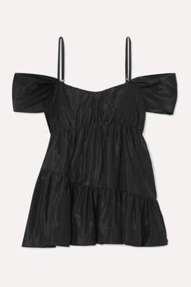 Simone Rocha Cold-shoulder Gathered Taffeta Top - Black