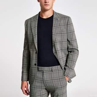 River Island Mens Black check skinny stretch suit jacket