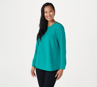 Denim & Co. Luxe Stretch Solid Snap Shoulder Blouse