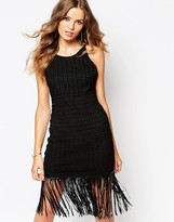 Goldie Strappy Scooped Back Shift Dress In Crochet Lace With Tassel Hem