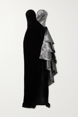 Rasario Strapless Ruffled Lame And Velvet Gown - Black