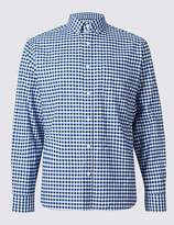 Marks and Spencer Pure Cotton Checked Oxford Shirt