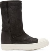Rick Owens Black Shearling Creeper Boots