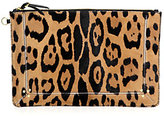 Popoche Large Leopard-Print Calf Hair Clutch