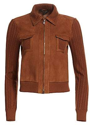 Loro Piana Women's Quercy Knit & Suede Collared Jacket