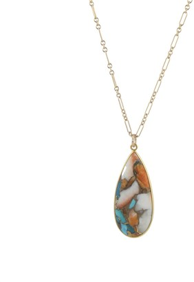 Peggy Li Creations Copper Oyster Turquoise Pendant Necklace, Gold 24 Inch