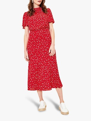 Oasis Ditsy Heart Midi Dress, Red