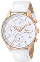 Lacoste Women's 2000874 Philadelphia Rose Gold-Tone Stainless Steel Watch With White Leather Band