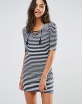 Hollister Lace-Up Stripe Bodycon Dress