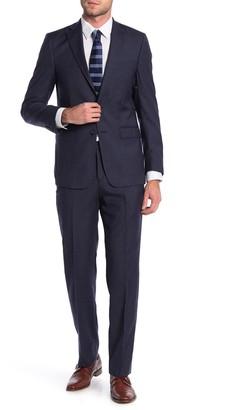 Calvin Klein Navy Sharkskin Two Button Notch Lapel Slim Fit Suit