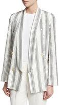 Brunello Cucinelli Micro Paillette Striped Blazer, White