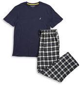 Nautica Crewneck Tee and Flannel Pajama Pants Set