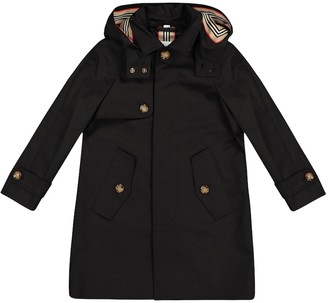 BURBERRY KIDS Hooded cotton twill coat