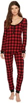 Plush Thermal Buffalo Plaid PJ Set (Red/Black) Women's Pajama Sets