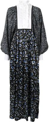 Tory Burch Ruffle Floral Maxi Silk Dress