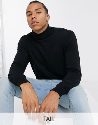 French Connection Tall 100% cotton roll neck sweater in black