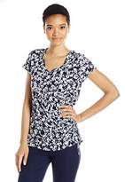 Jones New York Women's Wildflowers Print Shirred Side Top