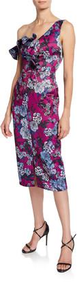Flor Et. Al Ella Floral-Print Asymmetric-Sleeve Cocktail Dress