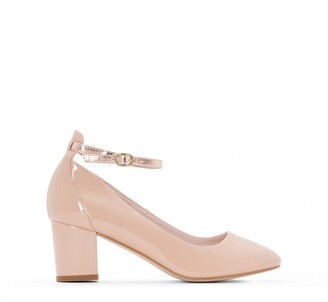 La Redoute Collections Patent Heeled Ballet Pumps with Ankle Strap