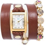 La Mer Women's LMSCW1502 Brown Simple Wrap Sunset Swarovski Bracelet Watch