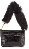 Elizabeth and James Finley Crocodile-Embossed Fur Shoulder Bag, Black