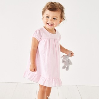 The White Company Seersucker Button-Back Dress, Pink Stripe, 6-9mths