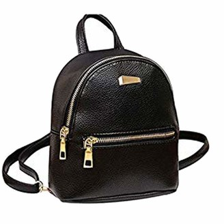 Abuyall SmallSolid Backpack Purse Small Front Pocket PU Leather Casual Waterproof Backbag - black - S
