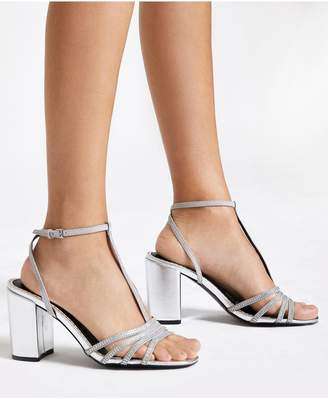 River Island Wide Fit Heatseal T Bar Sandal - Silver