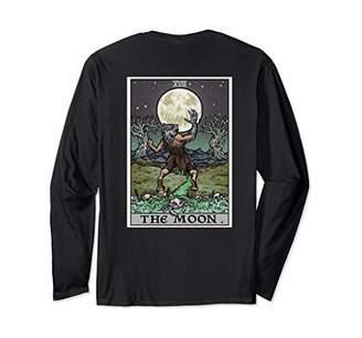 The Moon Tarot Card Halloween Werewolf Gothic Back Print Long Sleeve T-Shirt