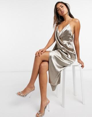 ASOS DESIGN drape front cami slip dress with back strap detail
