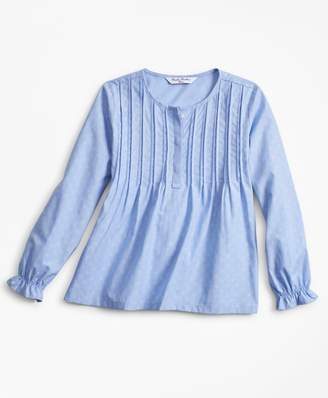 Brooks Brothers Girls Cotton Jacquard Anchor Blouse