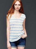 Linen cap sleeve stripe tee