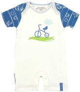 Kushies Blue & White Bicycle Organic Cotton Romper - Infant