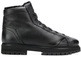 Santoni Lined Lace-Up Ankle Boots