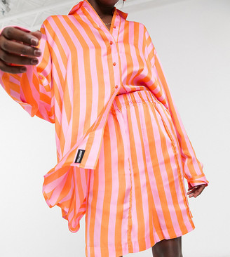 Collusion satin longline shorts in candy stripe