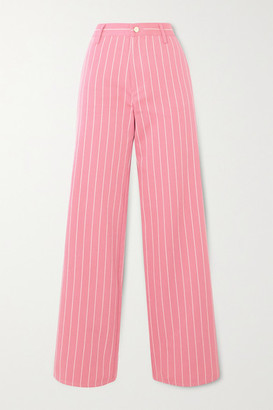 Maggie Marilyn + Net Sustain Powerful In Pink Pinstriped Organic-cotton Twill Wide-leg Pants - UK8