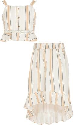 River Island Girls Beige stripe frill crop top outfit