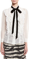 Marc Jacobs Tie-Neck Ruffled-Bib Cotton Blouse, Ivory