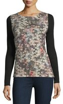 Neiman Marcus Romantic Floral Sheer-Sleeve Cashmere Top