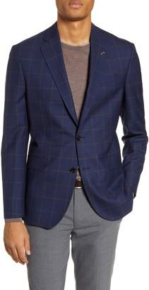 Ted Baker Jay Trim Fit Windowpane Wool Sport Coat