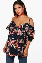 boohoo Maternity Dawn Floral Cold Shoulder Wrap Top navy