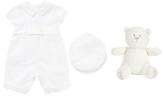 Emile et Rose Baby Kurtis Romper and Hat Set, White