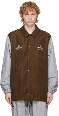 Undercover Brown and Grey Graphic Pattern Jacket