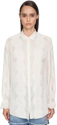 Ermanno Scervino Cotton Muslin & Lace Blouse