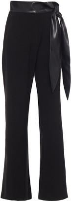 Nanushka Cecilia Knotted Vegan Leather-trimmed Crepe Flared Pants